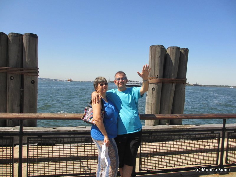 My parents at the Statue of Liberty