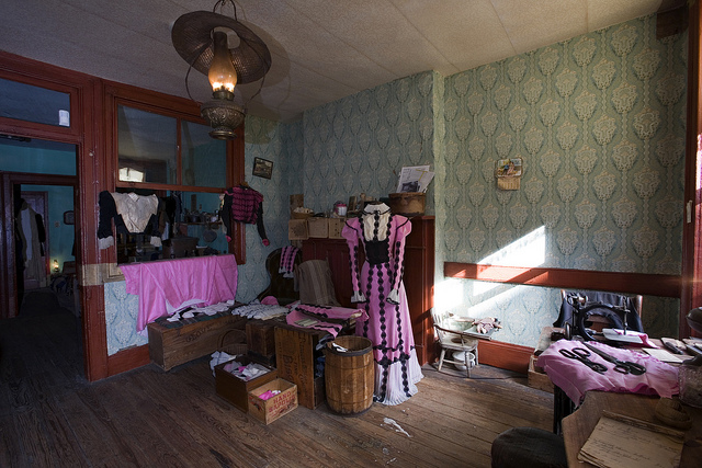 The Levine's family garment workshop at the Tenement Museum, that also acted as living room