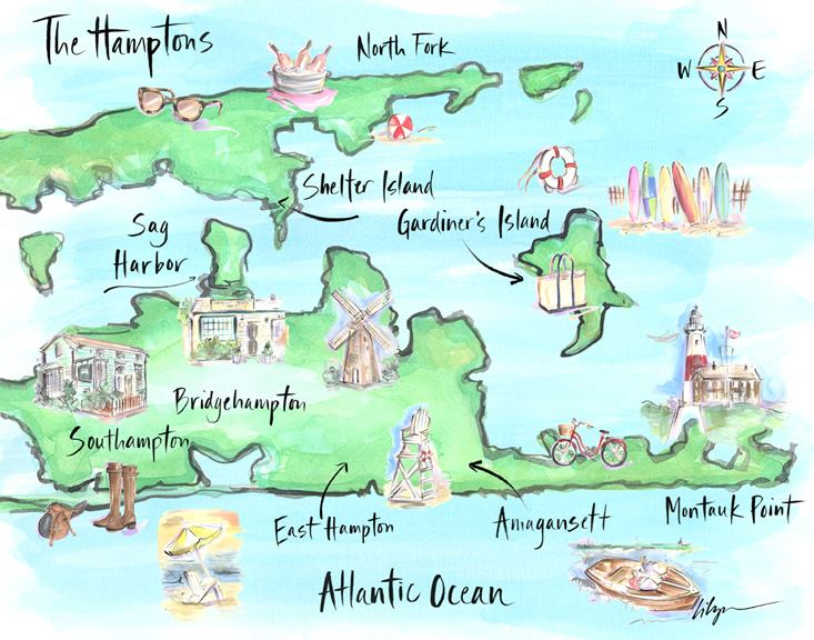 Hamptons New York Map.An Illustrated Summer Guide To The Hamptons Monica Suma